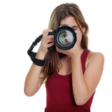 Teenager taking photographs with a professional camera Royalty Free Stock Photo