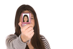 A teenager taking a self portrait Royalty Free Stock Images