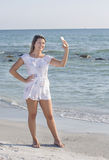 Teenager Taking Selfie On The Beach Royalty Free Stock Photography