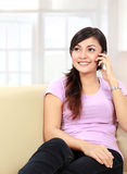 Teenager talking on the handphone Stock Images