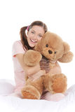 Teenager with teddy bear. Stock Photos