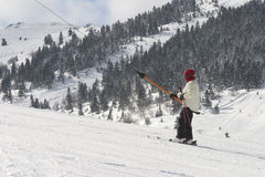 A teenager at teleski. Bolu, Turkey Stock Images