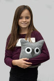 Teenager with textile owl Royalty Free Stock Images
