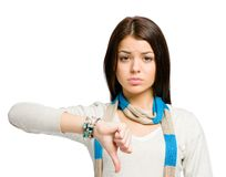 Teenager thumbs down Royalty Free Stock Photo