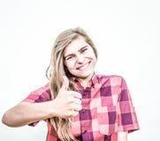 Teenager thumbs up Stock Photo