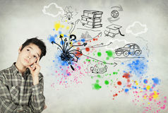 Teenager to imagine its future. Teenager to imagine his future, his life as a great Royalty Free Stock Image