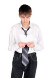 Teenager with torn paper Stock Image