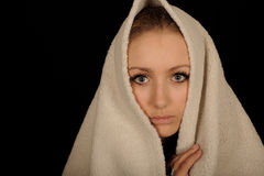 Teenager with towel over head Stock Photo