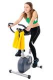 Teenager on training bicycle Stock Photo