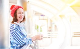Teenager travel in the city stock photography