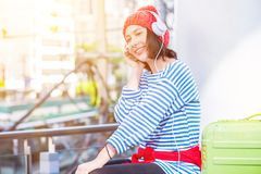 Teenager travel in the city stock photo