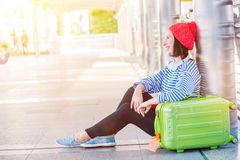 Teenager travel in the city stock image