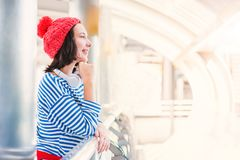Teenager travel in the city royalty free stock image