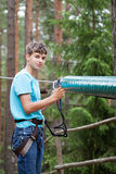 Teenager in the travel gear Royalty Free Stock Photography
