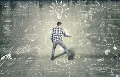 Teenager tries to solve problems Stock Images