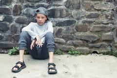 Teenager triste infelice all'aperto Fotografie Stock Libere da Diritti