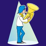 Teenager and tube. The young man playing the trumpet. Humorous illustration Royalty Free Stock Photography