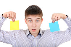 Teenager with two Papers Stock Image