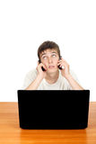 Teenager with Two Phones Royalty Free Stock Images