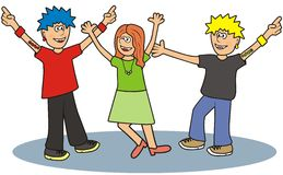 Teenager. Two young men and a girl dancing on the dance floor Royalty Free Stock Image