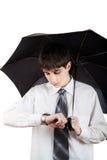 Teenager with Umbrella Royalty Free Stock Photos