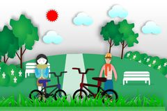 Teenager und Mädchen gehen in den Park für Erholung  Stockbild