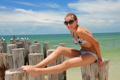 Teenager on vacation. Teen on her vacation in Florida Royalty Free Stock Photos