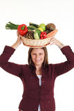 Teenager with vegetables Stock Photography