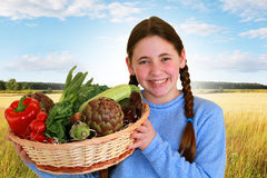 Teenager with a vegetables Stock Photo