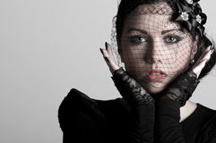 Teenager in Veil and Lace Gloves Royalty Free Stock Images