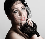 Teenager in Veil and Lace Gloves Royalty Free Stock Photo