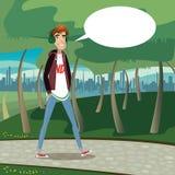 Teenager walking at city park Royalty Free Stock Photo