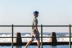 Teenager Walking Tidal Pool Ocean Waves Royalty Free Stock Image
