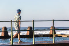 Teenager Walking Tidal Pool Ocean Waves Royalty Free Stock Images