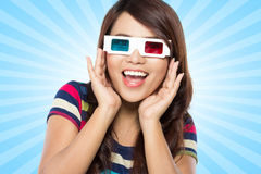 Teenager watching the movie Royalty Free Stock Images