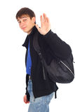 Teenager wave goodbye Stock Photo