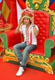 Teenager Wearing Chinese Headdress Stock Images