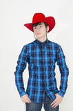 Teenager wearing cowboy cap. Isolated on white Royalty Free Stock Photo