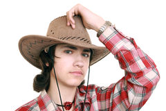Teenager wearing a cowboy hat stock photos