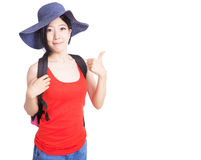 Teenager wearing a red colour top Stock Photos