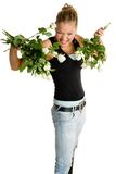 Teenager with white roses Stock Image