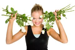 Teenager with white roses Stock Photo