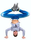 Teenager who stands on his hands Royalty Free Stock Photos