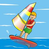 Teenager and windsurfing Stock Photo