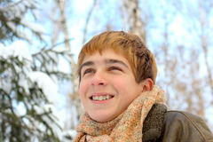 Teenager in winter Stock Images
