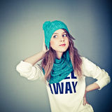 Teenager in winter clothes Stock Photography
