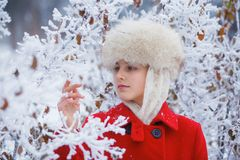 Teenager winter girl Stock Images