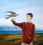 Teenager With A Falcon Stock Photo