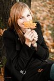 Teenager With Autumn Leaf Stock Photo