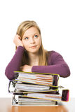 Teenager With File Folders Royalty Free Stock Photos
